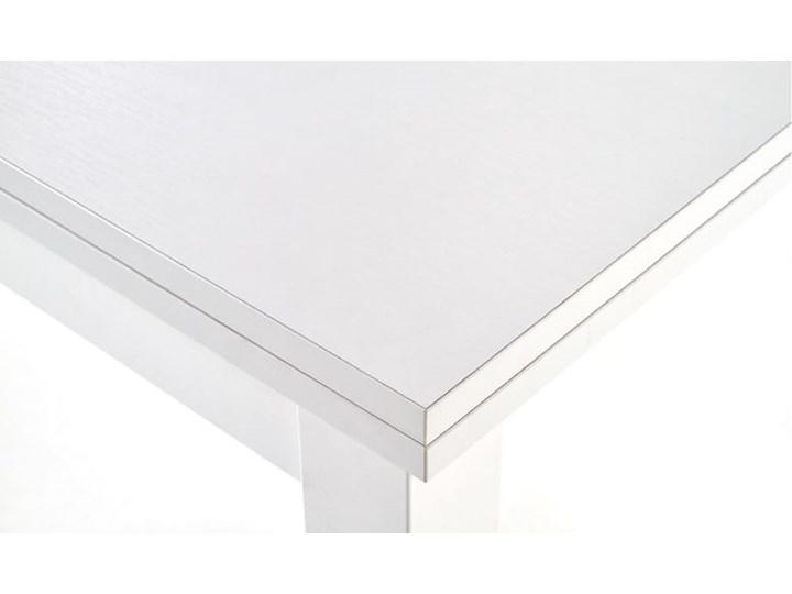 Biały stół kwadratowy rozkładany 80/160 cm Wysokość 76 cm Szerokość 80 cm Tworzywo sztuczne Płyta laminowana Długość 80 cm  Płyta MDF Styl Skandynawski