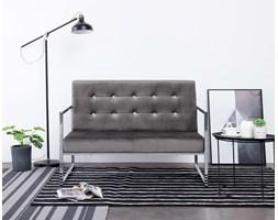 Nowoczesna sofa dwuosobowa szary chromowany stelaż loft