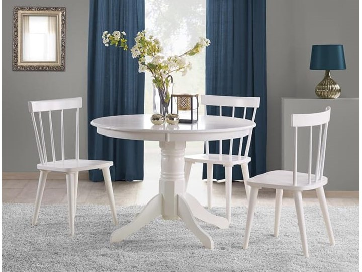 Elegancki okrągły stół do jadalni w kolorze białym Ø106cm