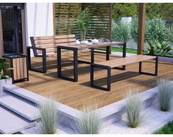 Drewniany komplet mebli ogrodowych 200 cm, stół + ławki