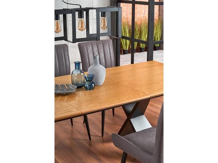 Duży industrialny stół rozkładany dąb naturalny/czarny 220 cm Wysokość 75 cm Drewno Szerokość 90 cm Płyta MDF Stal Długość 160 cm  Styl Nowoczesny