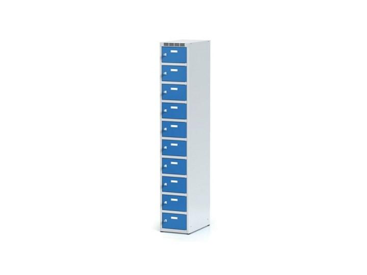 Metalowa szafka ubraniowa 10-drzwiowa, drzwi niebieske, zamek cylindryczny