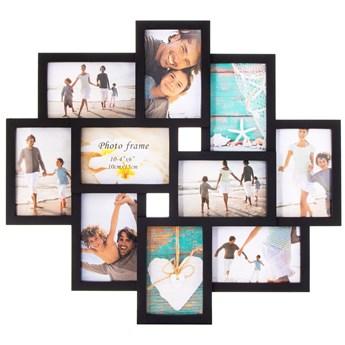 Ramka na zdjęcia 10 zdjęć multiramka 10x15 czarna