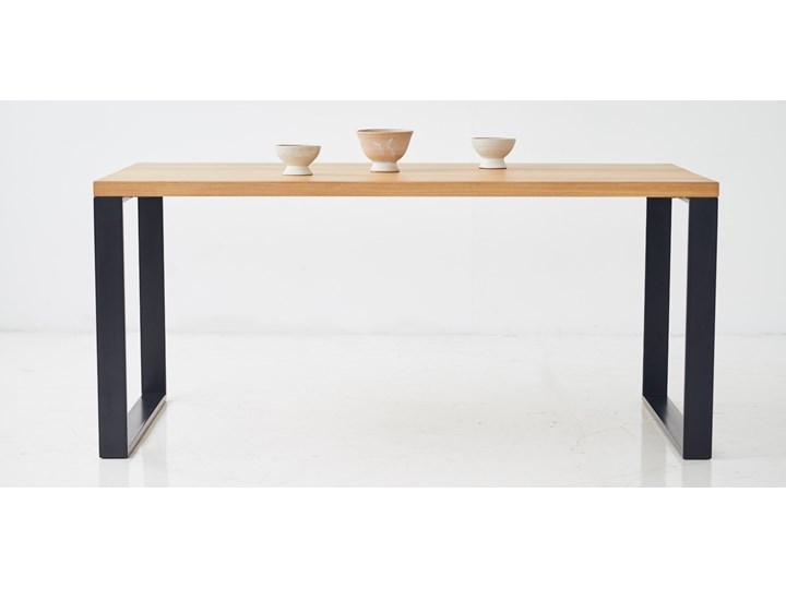Stół z litego drewna dębowego ST 4 Długość 170 cm Stal Drewno Rozkładanie