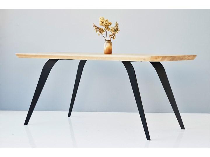 Stół z litego drewna dębowego ST2 Rozkładanie Długość 180 cm  Drewno Stal Kolor Beżowy