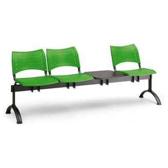 Ławka do poczekalni plastikowa VISIO, 3 siedzenia + stołek, zielony, czarne nogi