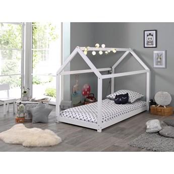 Drewniane łóżko dla dzieci z drewna sosnowego Domek biały  90x200