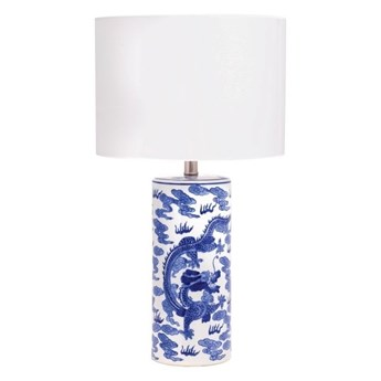 Lampa ceramiczna niebieska  MING na komodę do salonu