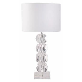 Stołowa kryształowa lampa na komodę z białym abażurem VERMONT
