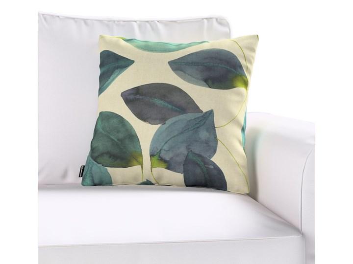 Poszewka Kinga na poduszkę, liście w kolorze szmaragdowej zieleni z fioletem na lnianym tle, 43 × 43 cm, Abigail 43x43 cm 60x60 cm 45x65 cm 40x60 cm 45x45 cm Kolor Zielony Poszewka dekoracyjna 50x50 cm Bawełna Kwadratowe Wzór Z nadrukiem