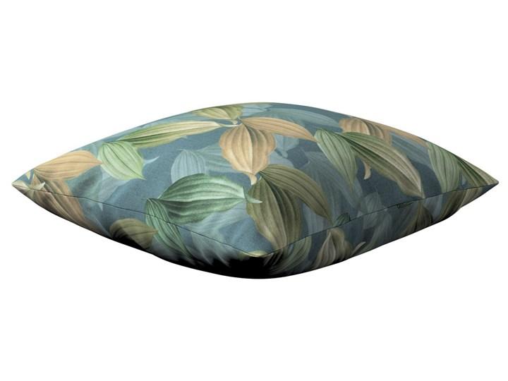 Poszewka Kinga na poduszkę, zielone, beżowe liście na niebiesko-zielonym tle, 43 × 43 cm, Abigail Poszewka dekoracyjna Bawełna 40x60 cm 43x43 cm Kolor Miętowy 45x65 cm Kwadratowe 60x60 cm 50x50 cm 45x45 cm Wzór Roślinny