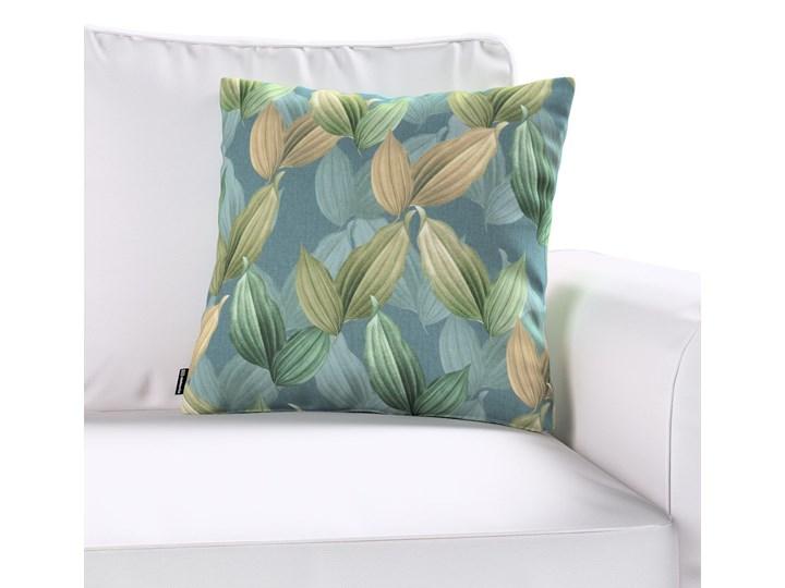 Poszewka Kinga na poduszkę, zielone, beżowe liście na niebiesko-zielonym tle, 43 × 43 cm, Abigail 43x43 cm 50x50 cm Poszewka dekoracyjna Bawełna 60x60 cm 45x45 cm 45x65 cm Kwadratowe 40x60 cm Kolor Miętowy