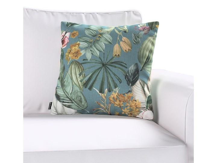Poszewka Kinga na poduszkę, kwiaty na zielono-niebieskim tle, 43 × 43 cm, Abigail 45x45 cm Kwadratowe Poszewka dekoracyjna Bawełna 40x60 cm 50x50 cm Pomieszczenie Salon 43x43 cm 45x65 cm 60x60 cm Wzór Roślinny