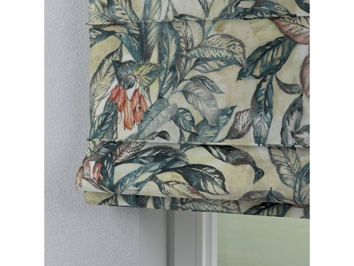 Roleta rzymska Capri, liście w odcieniach zieleni, niebieskiego, czerwieni na beżowym tle, szer.80 × dł.170 cm, Abigail Pomieszczenie Jadalnia Pomieszczenie Salon