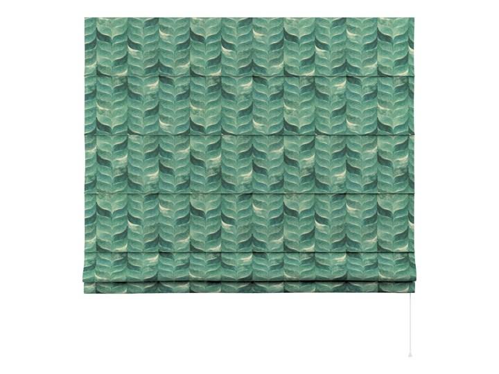 Roleta rzymska Capri, szmaragdowo-zielony wzór na lnianym tle, szer.80 × dł.170 cm, Abigail Pomieszczenie Kuchnia