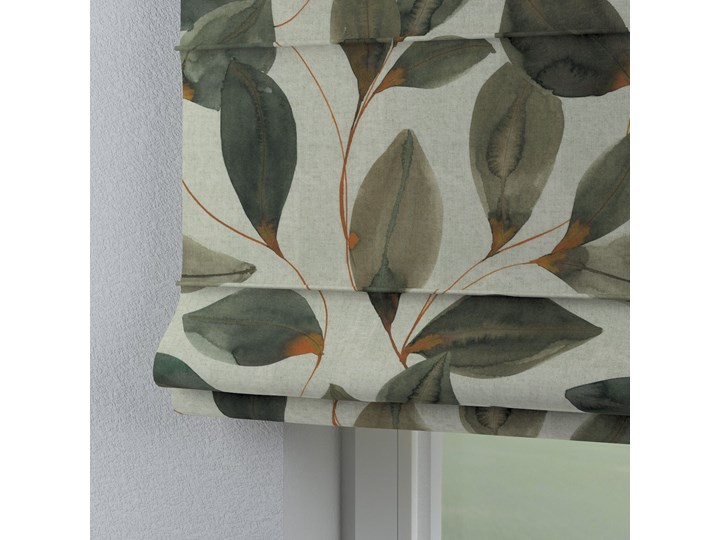 Roleta rzymska Capri, brązowo-pomarańczowe liście na szarym lnianym tle, szer.80 × dł.170 cm, Abigail Typ Roleta zaciemniająca
