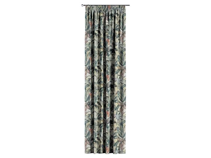 Zasłona na taśmie marszczącej 1 szt., liście w odcieniach zieleni, niebieskiego, czerwieni na beżowym tle, 1szt 130 × 260 cm, Abigail 130x260 cm Bawełna Zasłona zaciemniająca Pomieszczenie Jadalnia Pomieszczenie Salon