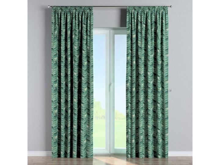 Zasłona na taśmie marszczącej 1 szt., szmaragdowo-zielony wzór na lnianym tle, 1szt 130 × 260 cm, Abigail Pomieszczenie Salon Zasłona zaciemniająca 130x260 cm Bawełna Len Wzór Nadruk