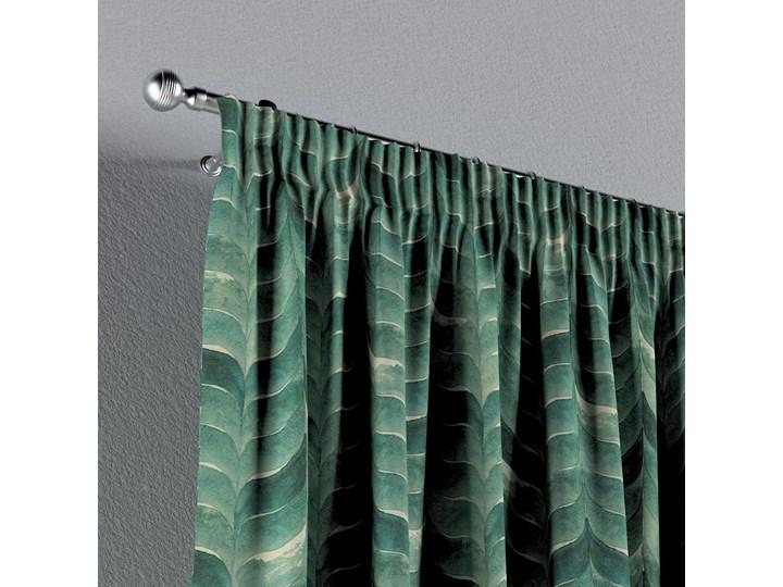 Zasłona na taśmie marszczącej 1 szt., szmaragdowo-zielony wzór na lnianym tle, 1szt 130 × 260 cm, Abigail Len Bawełna 130x260 cm Zasłona zaciemniająca Pomieszczenie Sypialnia Wzór Nadruk