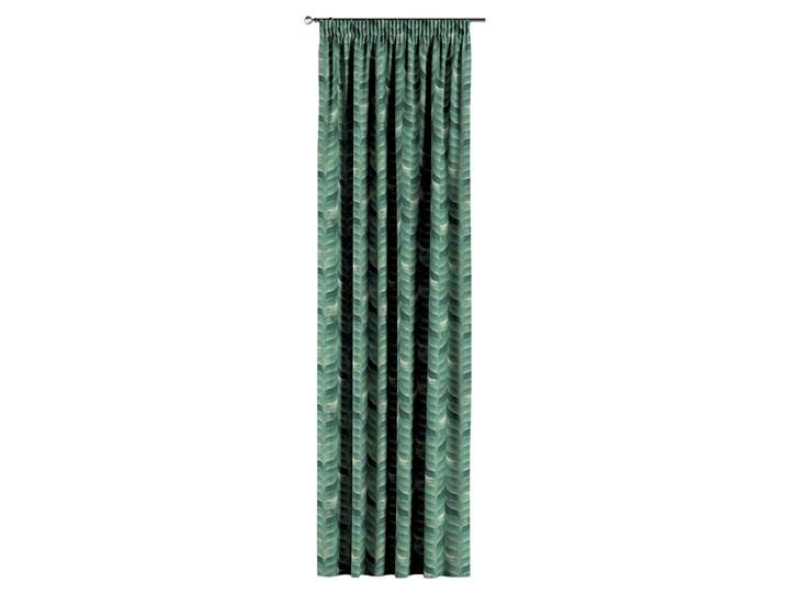 Zasłona na taśmie marszczącej 1 szt., szmaragdowo-zielony wzór na lnianym tle, 1szt 130 × 260 cm, Abigail Len Mocowanie Taśma Zasłona zaciemniająca 130x260 cm Bawełna Pomieszczenie Salon