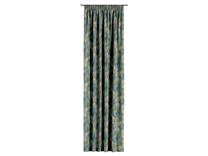 Zasłona na taśmie marszczącej 1 szt., zielone, beżowe liście na niebiesko-zielonym tle, 1szt 130 × 260 cm, Abigail Zasłona zaciemniająca 130x260 cm Bawełna Pomieszczenie Jadalnia Kategoria Zasłony