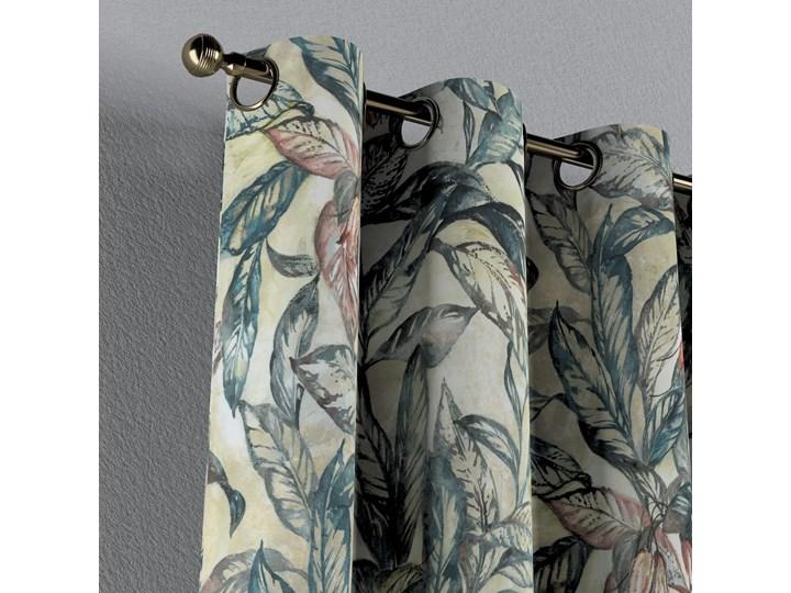 Zasłona na kółkach 1 szt., liście w odcieniach zieleni, niebieskiego, czerwieni na beżowym tle, 1szt 130 × 260 cm, Abigail Bawełna Zasłona zaciemniająca 130x260 cm Typ Zasłony gotowe