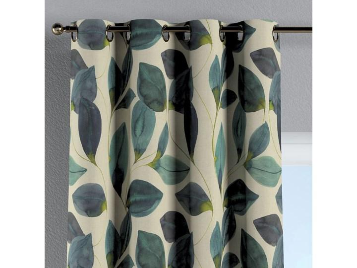 Zasłona na kółkach 1 szt., liście w kolorze szmaragdowej zieleni z fioletem na lnianym tle, 1szt 130 × 260 cm, Abigail Bawełna Mocowanie Taśma 130x260 cm Kategoria Zasłony