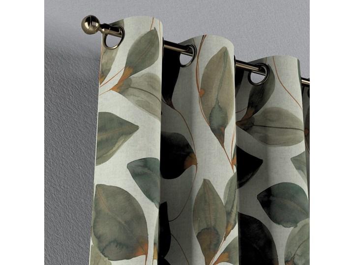 Zasłona na kółkach 1 szt., brązowo-pomarańczowe liście na szarym lnianym tle, 1szt 130 × 260 cm, Abigail Pomieszczenie Jadalnia 130x260 cm Len Bawełna Mocowanie Taśma