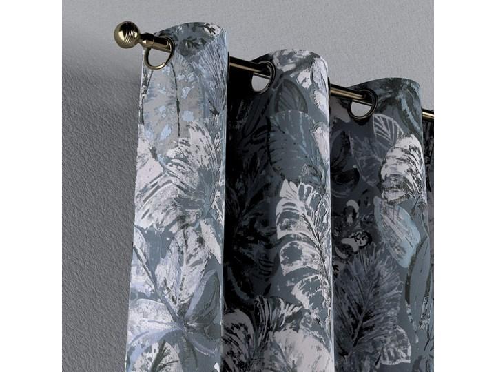 Zasłona na kółkach 1 szt., niebiesko-szare liście na szaro-niebieskim tle, 1szt 130 × 260 cm, Abigail Zasłona zaciemniająca 130x260 cm Bawełna Mocowanie Taśma Pomieszczenie Salon