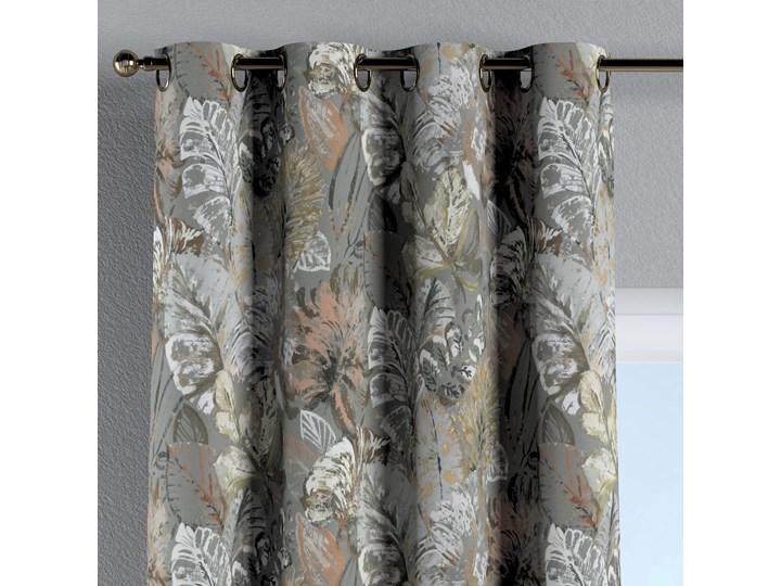 Zasłona na kółkach 1 szt., brązowe, beżowe, morelowe kwiaty na szarym tle, 1szt 130 × 260 cm, Abigail Bawełna 130x260 cm Zasłona zaciemniająca Pomieszczenie Jadalnia Mocowanie Taśma