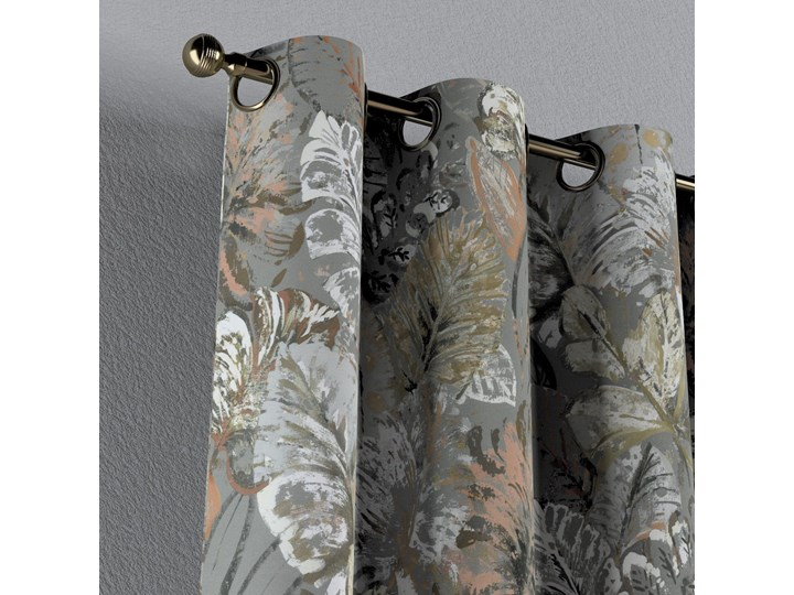 Zasłona na kółkach 1 szt., brązowe, beżowe, morelowe kwiaty na szarym tle, 1szt 130 × 260 cm, Abigail Zasłona zaciemniająca Bawełna 130x260 cm Pomieszczenie Salon Mocowanie Taśma