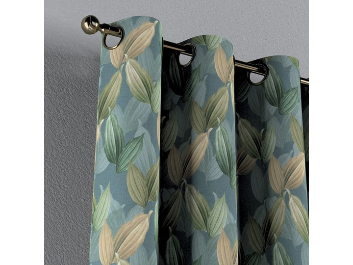 Zasłona na kółkach 1 szt., zielone, beżowe liście na niebiesko-zielonym tle, 1szt 130 × 260 cm, Abigail 130x260 cm Zasłona zaciemniająca Bawełna Pomieszczenie Sypialnia