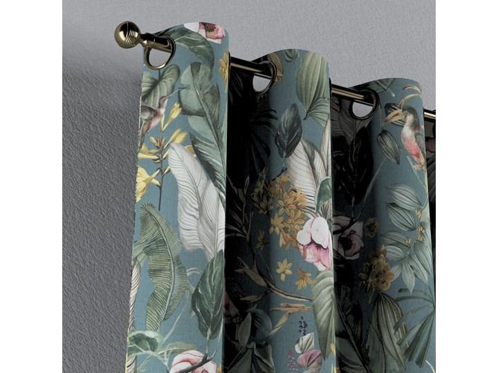 Zasłona na kółkach 1 szt., kwiaty na zielono-niebieskim tle, 1szt 130 × 260 cm, Abigail Zasłona zaciemniająca Pomieszczenie Sypialnia Bawełna 130x260 cm Kolor Zielony