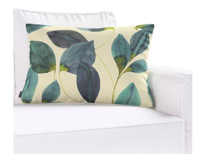 Poszewka Kinga na poduszkę prostokątną, liście w kolorze szmaragdowej zieleni z fioletem na lnianym tle, 60 × 40 cm, Abigail 40x60 cm Poszewka dekoracyjna Wzór Z nadrukiem Bawełna Prostokątne 45x65 cm Kolor Biały