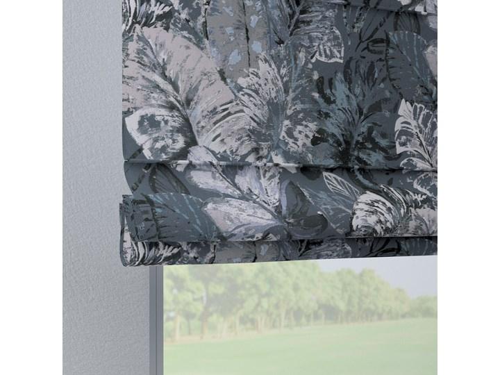 Roleta rzymska Verona, niebiesko-szare liście na szaro-niebieskim tle, szer.80 × dł.170 cm, Abigail Typ Roleta transparentna Pomieszczenie Kuchnia