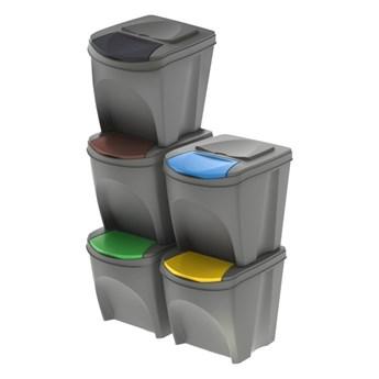 Kosz do segregacji śmieci Prosperplast Sortibox szary 5 x 25 l