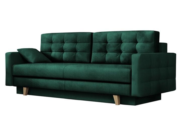 SELSEY Kanapa rozkładana trzyosobowa Verat zielony welur Szerokość 226 cm Głębokość 100 cm Wersalka Pomieszczenie Salon