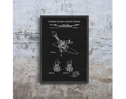 Plakat retro do salonu Plakat retro do salonu Patent na kontrolę postawy statku kosmicznego
