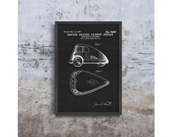 Plakat vintage do salonu Plakat vintage do salonu Patent na pojazd trójkołowy
