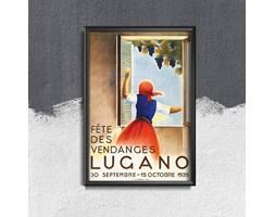 Plakat vintage do salonu Plakat vintage do salonu Wine Harvest Lugano Swiss