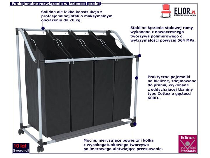 Sortownik na bieliznę Trinny 3X - czarny Tkanina Kategoria Metal Kolor Szary