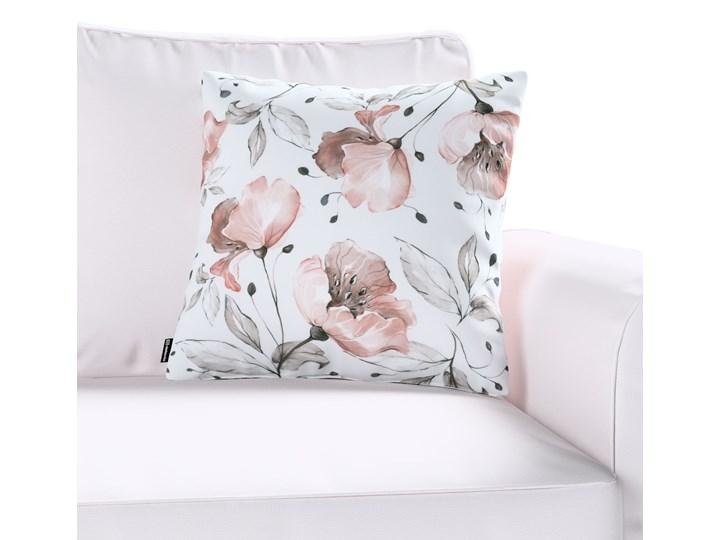 Poszewka Kinga na poduszkę, różowe kwiaty na kremowym tle, 43 × 43 cm, Velvet Kwadratowe Poszewka dekoracyjna Poliester 60x60 cm Kolor Biały 43x43 cm 40x60 cm 45x45 cm 50x50 cm 45x65 cm Kolor Różowy