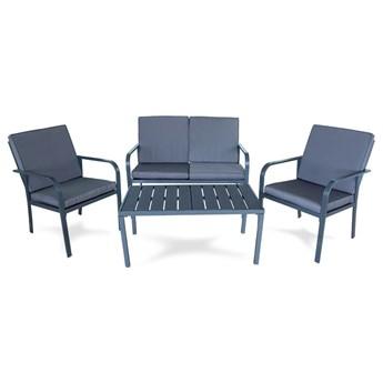 Meble ogrodowe zestaw na taras ławka fotel stolik z poduszkami szare x009