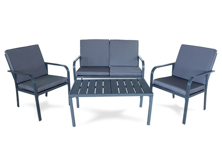 Meble ogrodowe zestaw na taras ławka fotel stolik z poduszkami szare x009 Tworzywo sztuczne Rattan Zestawy wypoczynkowe Zestawy kawowe Zawartość zestawu Krzesła