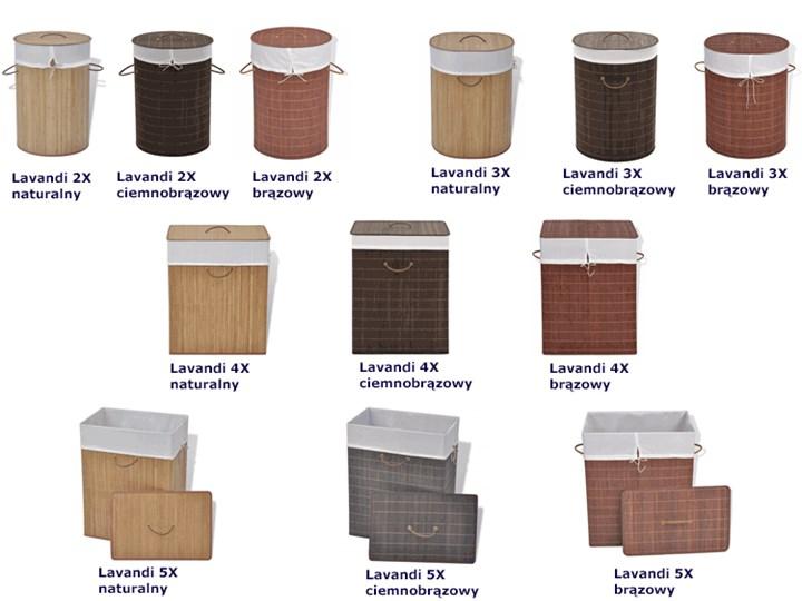 Kosz na pranie z drewna bambusa Lavandi 5X - naturalny Drewno Kategoria