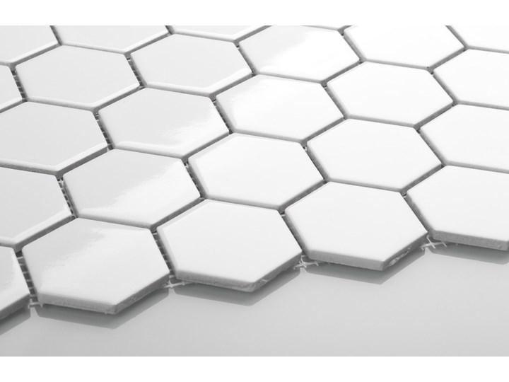 Płytka Heksagon Duży Biały Szkliwiony Gres Mozaika Płytki podłogowe Płytki ścienne Wzór Jednolity