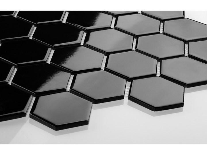 Płytka Heksagon Duży Czarny Szkliwiony Płytki ścienne Gres Płytki podłogowe Mozaika Wzór Jednolity