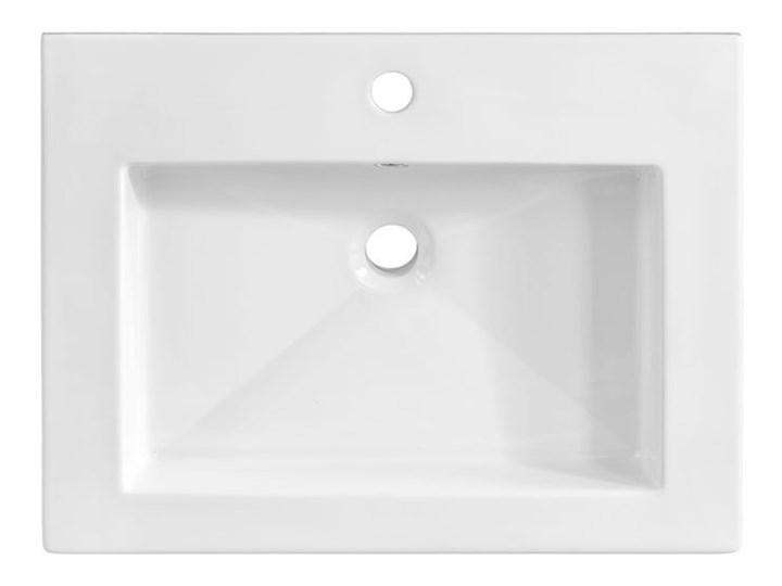 Prostokątna umywalka ceramiczna Vermona 60 CM - Biała Prostokątne Ceramika Wpuszczane Kolor Biały