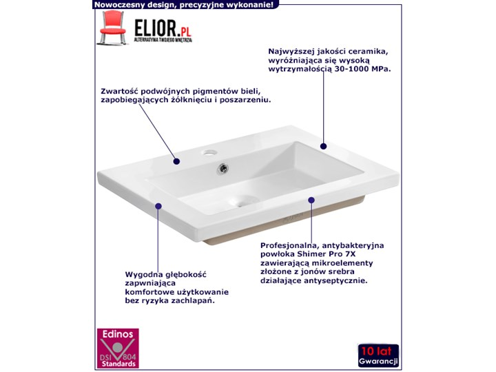 Prostokątna umywalka ceramiczna Vermona 60 CM - Biała Prostokątne Ceramika Kolor Biały Wpuszczane Kategoria Umywalki