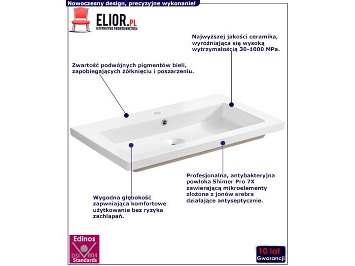 Prostokątna umywalka ceramiczna Vermona 80 CM - Biała Prostokątne Wpuszczane Kolor Biały Ceramika Kategoria Umywalki